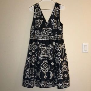 Black and white silky dress